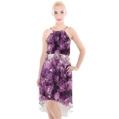 Amethyst Purple Violet Geode Slice High Low Halter Chiffon Dress  by genx