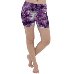 Amethyst Purple Violet Geode Slice Lightweight Velour Yoga Shorts by genx
