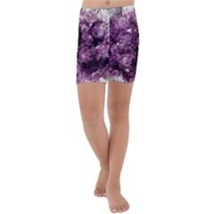 Amethyst Purple Violet Geode Slice Kids  Lightweight Velour Capri Yoga Leggings by genx