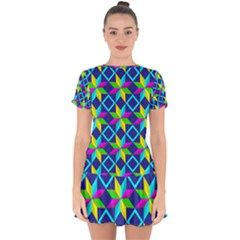 Pattern Star Abstract Background Drop Hem Mini Chiffon Dress by Pakrebo
