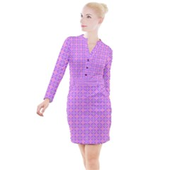 Wreath Differences Button Long Sleeve Dress by Pakrebo