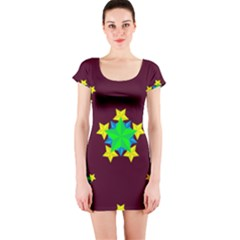 Pattern Star Vector Multi Color Short Sleeve Bodycon Dress