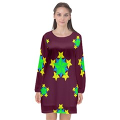 Pattern Star Vector Multi Color Long Sleeve Chiffon Shift Dress