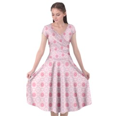 Traditional Patterns Pink Octagon Cap Sleeve Wrap Front Dress