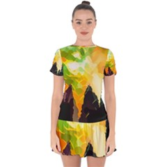 Forest Trees Nature Wood Green Drop Hem Mini Chiffon Dress