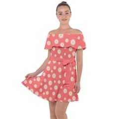 Field Of Daisies Off Shoulder Velour Dress by TimelessFashion