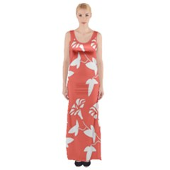 Floral In Coral  Maxi Thigh Split Dress by TimelessFashion