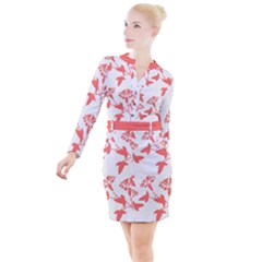 Floral In Coral  Button Long Sleeve Dress by TimelessFashion