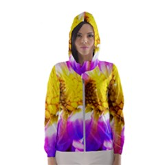 Purple, Pink And White Dahlia With A Bright Yellow Center Hooded Windbreaker (women) by myrubiogarden