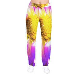 Purple, Pink And White Dahlia With A Bright Yellow Center Velvet Drawstring Pants