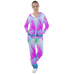 Abstract Pink Hibiscus Bloom With Flower Power Women s Tracksuit by myrubiogarden