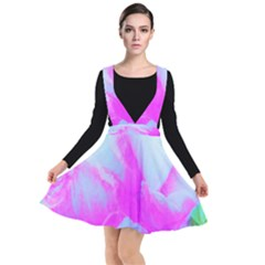 Abstract Pink Hibiscus Bloom With Flower Power Plunge Pinafore Dress by myrubiogarden