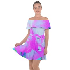 Abstract Pink Hibiscus Bloom With Flower Power Off Shoulder Velour Dress by myrubiogarden