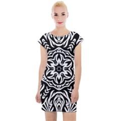Pattern Star Design Texture Cap Sleeve Bodycon Dress