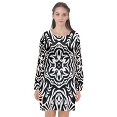 Pattern Star Design Texture Long Sleeve Chiffon Shift Dress