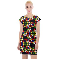 Graphic Pattern Rubiks Cube Cube Cap Sleeve Bodycon Dress