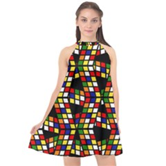 Graphic Pattern Rubiks Cube Cube Halter Neckline Chiffon Dress