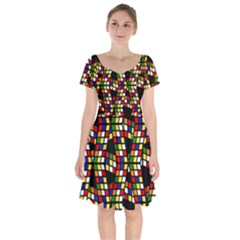 Graphic Pattern Rubiks Cube Cube Short Sleeve Bardot Dress by Pakrebo
