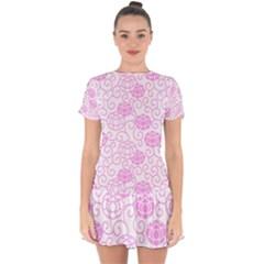 Peony Asia Spring Flowers Natural Drop Hem Mini Chiffon Dress