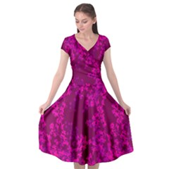 Burgundy Red With Fushia Floral Design Cap Sleeve Wrap Front Dress by 1dsign