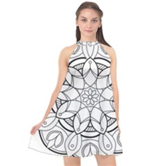 Mandala Drawing Dyes Page Halter Neckline Chiffon Dress