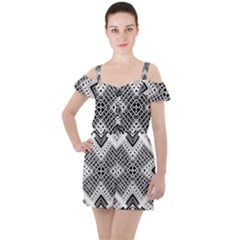 Pattern Tile Repeating Geometric Ruffle Cut Out Chiffon Playsuit by Pakrebo