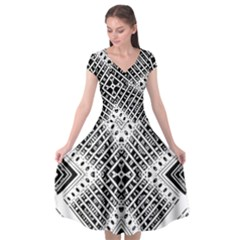 Pattern Tile Repeating Geometric Cap Sleeve Wrap Front Dress