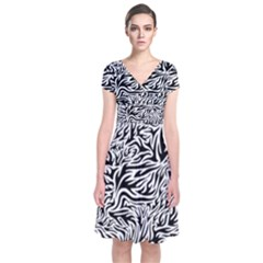 Flames Fire Pattern Digital Art Short Sleeve Front Wrap Dress by Pakrebo