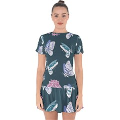 Butterfly Pattern Dead Death Rose Drop Hem Mini Chiffon Dress