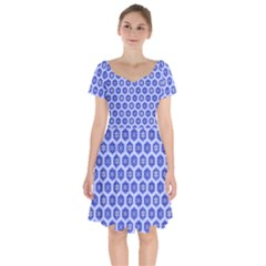 A Hexagonal Pattern Short Sleeve Bardot Dress