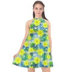 Narcissus Yellow Flowers Winter Halter Neckline Chiffon Dress