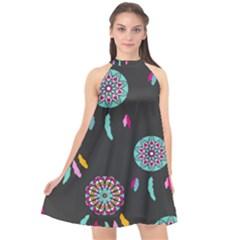 Dreamcatcher Seamless American Halter Neckline Chiffon Dress  by Pakrebo
