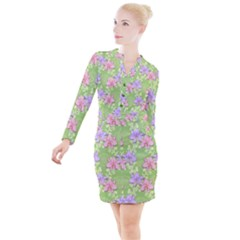 Lily Flowers Green Plant Natural Button Long Sleeve Dress by Pakrebo