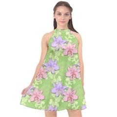 Lily Flowers Green Plant Natural Halter Neckline Chiffon Dress