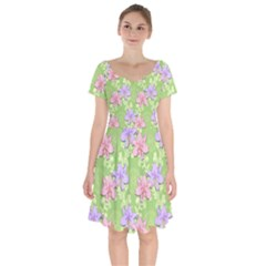 Lily Flowers Green Plant Natural Short Sleeve Bardot Dress