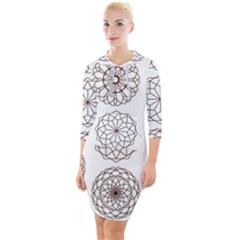Graphics Geometry Abstract Quarter Sleeve Hood Bodycon Dress by Pakrebo