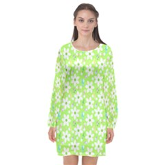 Zephyranthes Candida White Flowers Long Sleeve Chiffon Shift Dress