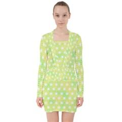 Traditional Patterns Hemp Pattern Green V Neck Bodycon Long Sleeve Dress by Pakrebo
