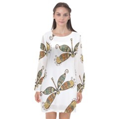 Pattern Dragonfly Background Long Sleeve Chiffon Shift Dress