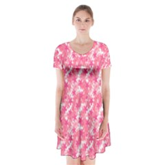 Phlox Spring April May Pink Short Sleeve V Neck Flare Dress by Pakrebo