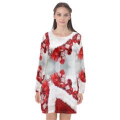 Christmas Background Tile Gifts Long Sleeve Chiffon Shift Dress