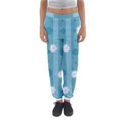 Gardenia Flowers White Blue Women s Jogger Sweatpants by Pakrebo