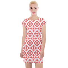 Floral Dot Series   Living Coral And White Cap Sleeve Bodycon Dress by TimelessFashion