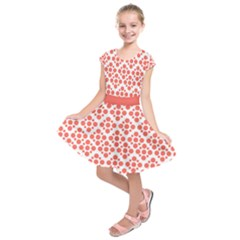 Floral Dot Series   Living Coral And White Kids  Short Sleeve Dress by TimelessFashion