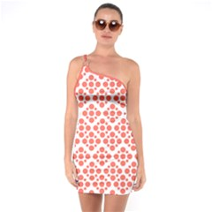 Floral Dot Series   Living Coral And White One Soulder Bodycon Dress by TimelessFashion
