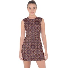 Pattern Decoration Art Ornate Lace Up Front Bodycon Dress