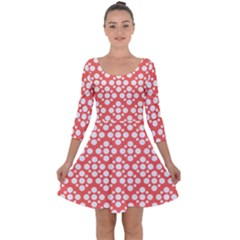 Floral Dot Series   White And Living Coral Quarter Sleeve Skater Dress by TimelessFashion