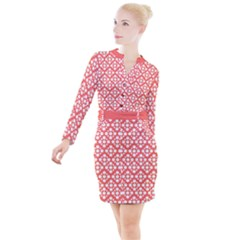 Floral Dot Series   White And Living Coral Button Long Sleeve Dress by TimelessFashion