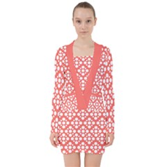 Floral Dot Series   White And Living Coral V Neck Bodycon Long Sleeve Dress by TimelessFashion