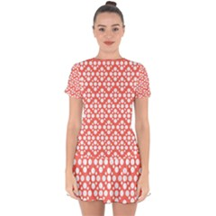 Floral Dot Series   White And Living Coral Drop Hem Mini Chiffon Dress by TimelessFashion